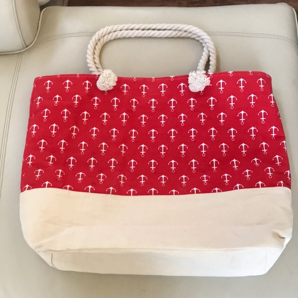 Nordstrom Bags   Bundle Only Nautical Red Beach Bag Tote Zipper ... f5677f183f